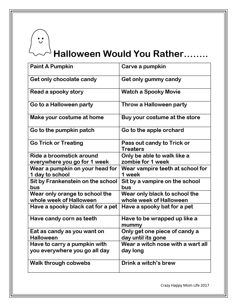 Free Printable-Halloween Would You Rather Questions | Halloween Fun ...