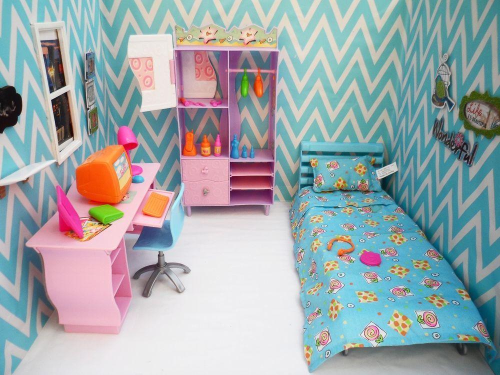 Barbie All Around Home Mattel 2001 BEDROOM PLAYSET Blue