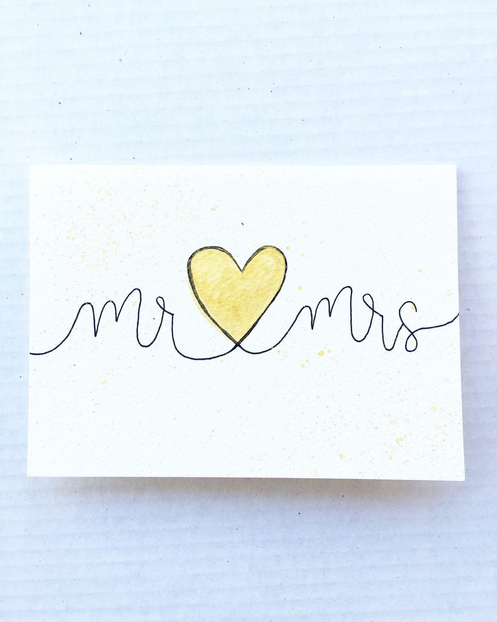Hand Lettered Wedding Card Blank Inside Envelope Included Size 5