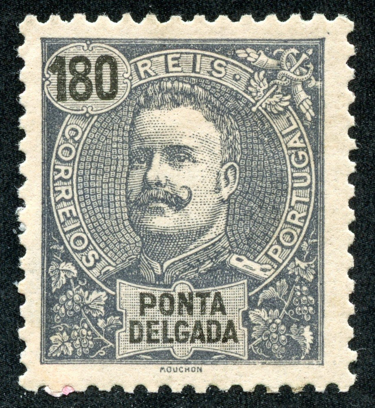 """Portugal – 1898 Scott 31 180r slate/pinkish The issue does have a number of stamps printed on tinted paper. Note the """"pinkish"""" tint to the paper here."""