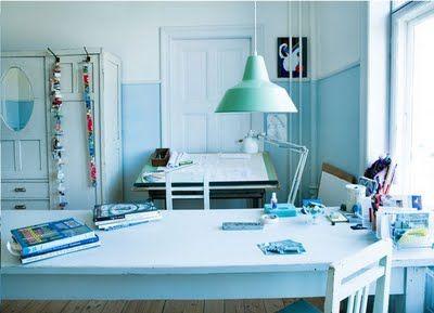 soothing blue workroom