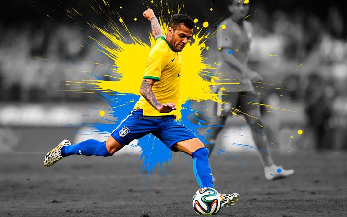 Download Wallpapers Dani Alves Art 4k Brazil National Football Team Brazilian Footballer Defender Yellow Blue Splashes Of Paint Grunge Art Creative Art National Football Teams National Football Football Team