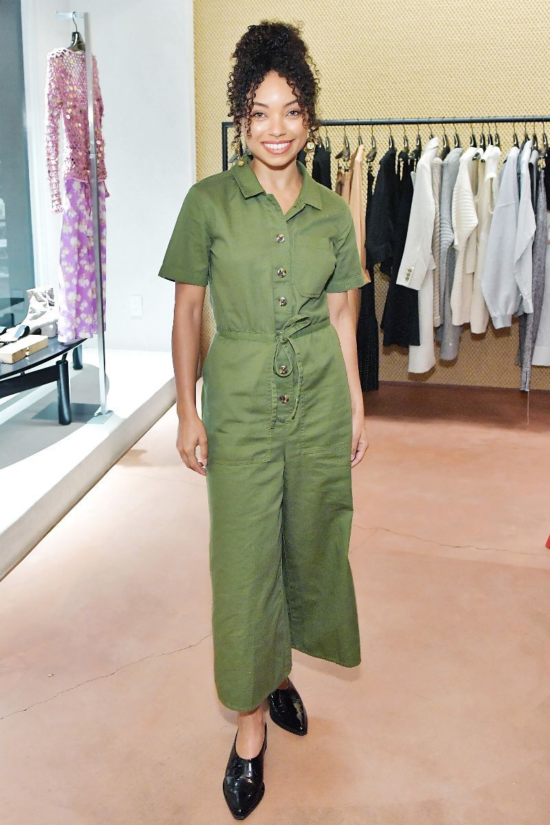 a45b24cb655 Actress Logan Browning just stepped out in your new favorite jumpsuit. See  and shop it here.