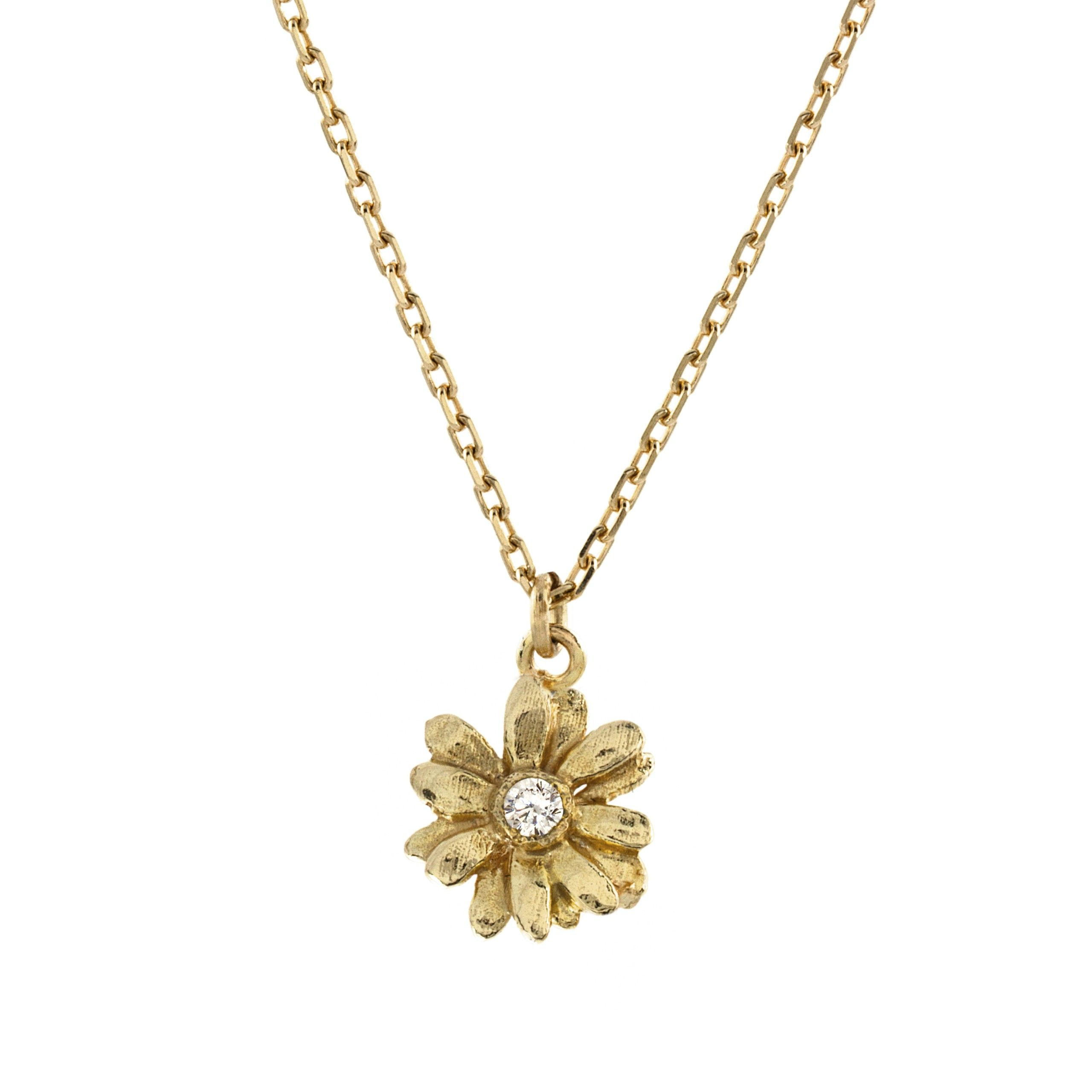 res wire gold hi ladies daisy necklace long