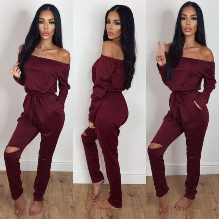 d2b8286eebb Sexy 4 Color S-XXL Women Jumpsuits Solid color Fashion Hot Long sleeved  Strapless Hole Straight collar Nightclub Romper Jumpsuit