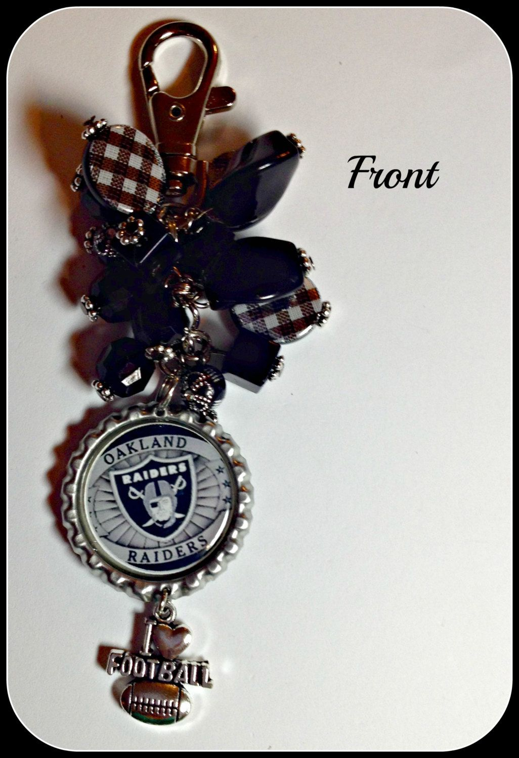 Oakland Raiders Purse Charm 2Sided Unique Custom Made Sports