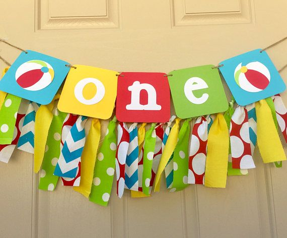 Beach Ball Party Decorations Beach Ball Birthday Banner Highchair Banner Pool Party Smash Cake