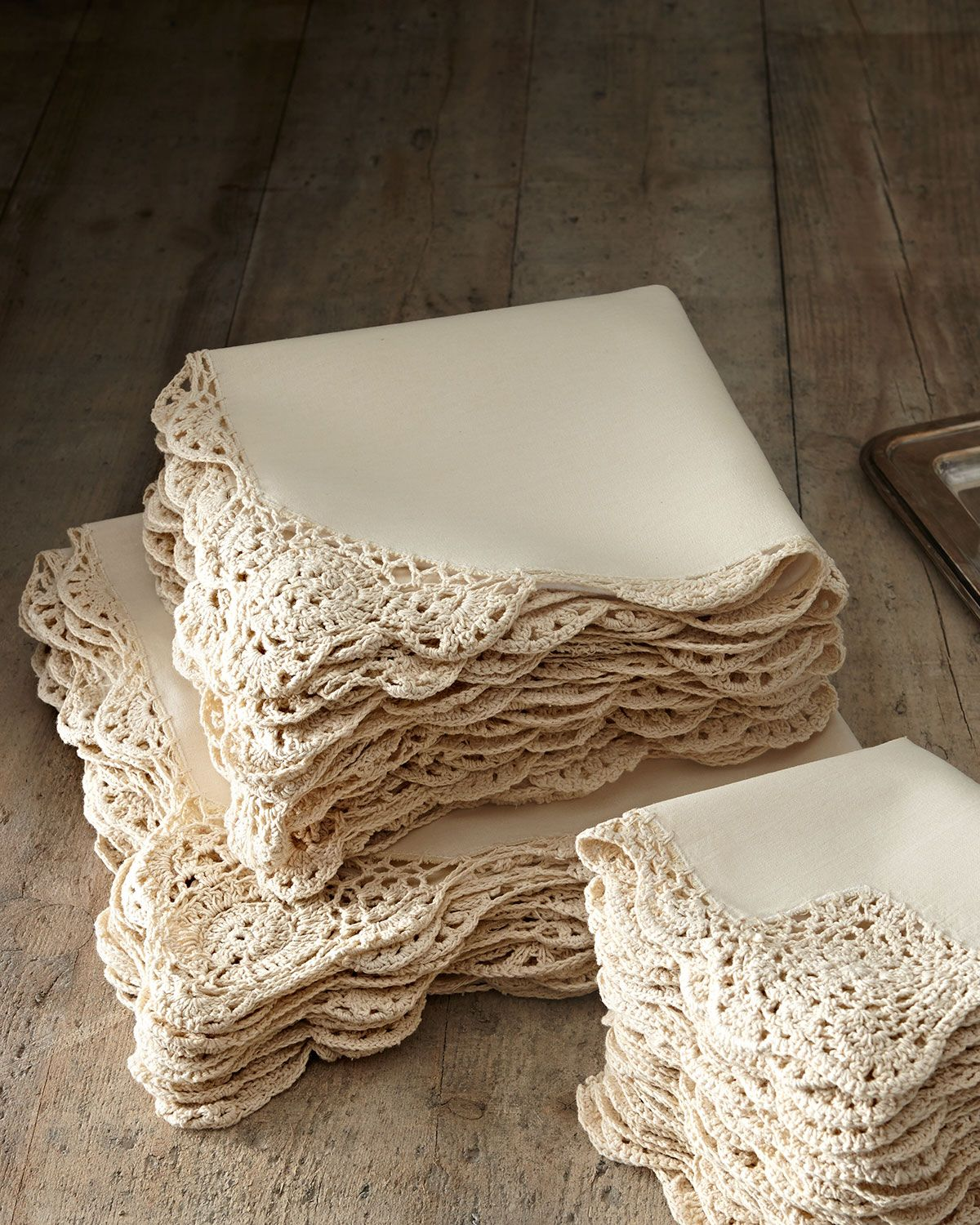 12 Ivory Crochet Edge Dinner Napkins Crochet Ideas Pinterest