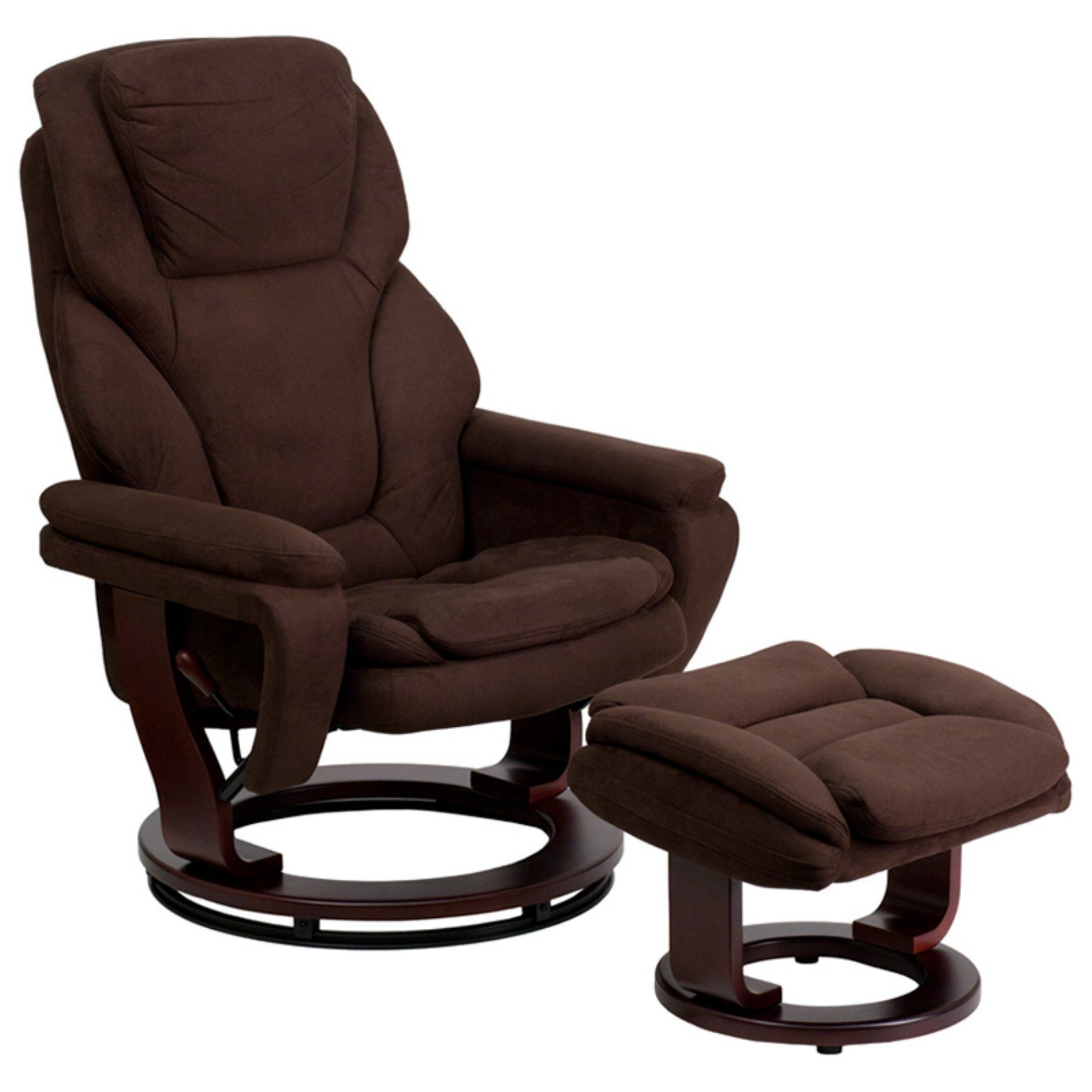 Astonishing Flash Furniture Microfiber Recliner And Ottoman With Wood Machost Co Dining Chair Design Ideas Machostcouk