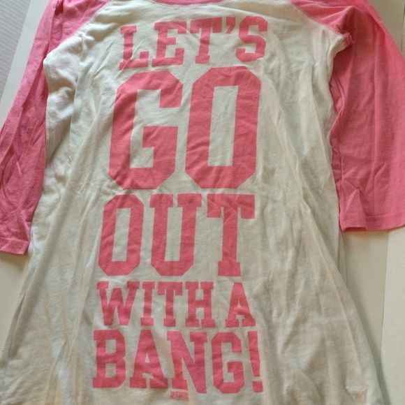 """""""Let's go out with a BANG!"""" VS SLEEP TEE Has been worn a few times, one small hole on the bottom (shown in last picture) from ripping out the original tag. Size small (can fit medium as well, oversized fit). Full length: 30in, arm length: 20in, waist: 17in.  Please use the offer button if interested. Sorry I do not hold or TRADE Victoria's Secret Intimates & Sleepwear Pajamas"""