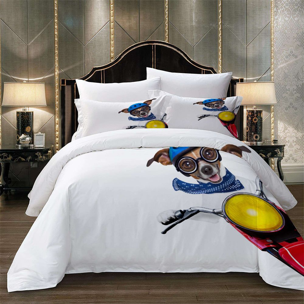 Dog 3d Printed Bedding Set Queen Size Cycling Simple Duvet Cover