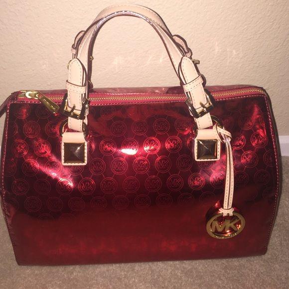 michael kors rare red grayson metallic satchel this bag is sold out rh pinterest com