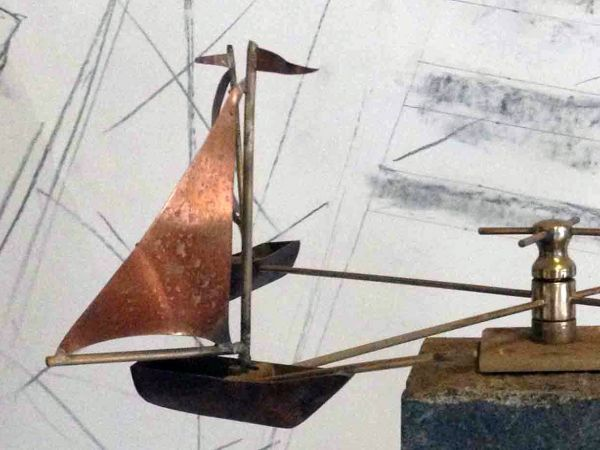 Copper And Brass Garden Or Yard / Outside And Outdoor Sculpture By Sculptor  Stanley Jankowski Titled: U0027Sailboats (Wind Powered Spinning Circling Mobile  ...