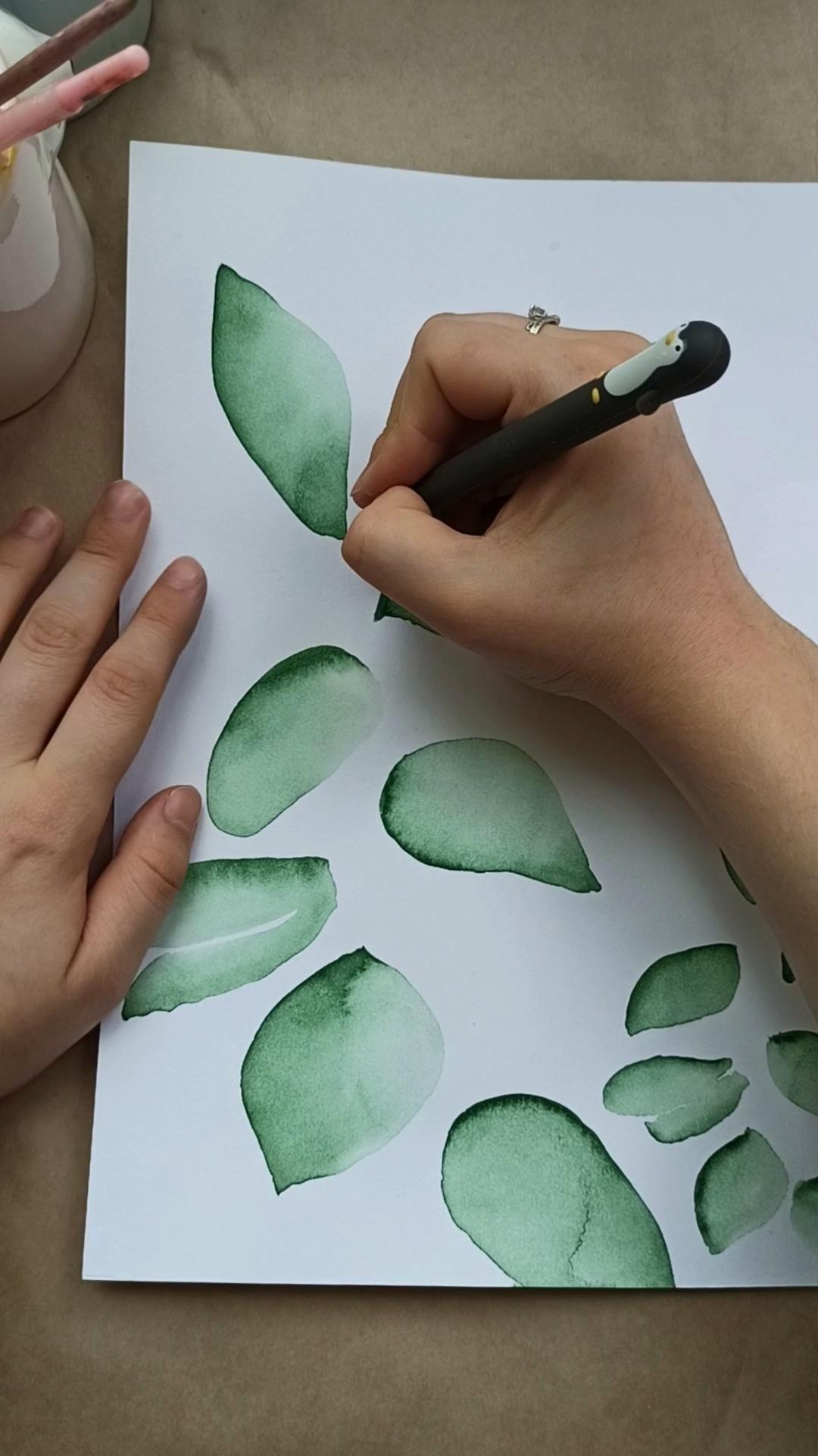 Extraordinaire  Mot-Clé Easy plants art, watercolor art ideas, line drawing, art tutorial, ideas painting, easy drawing