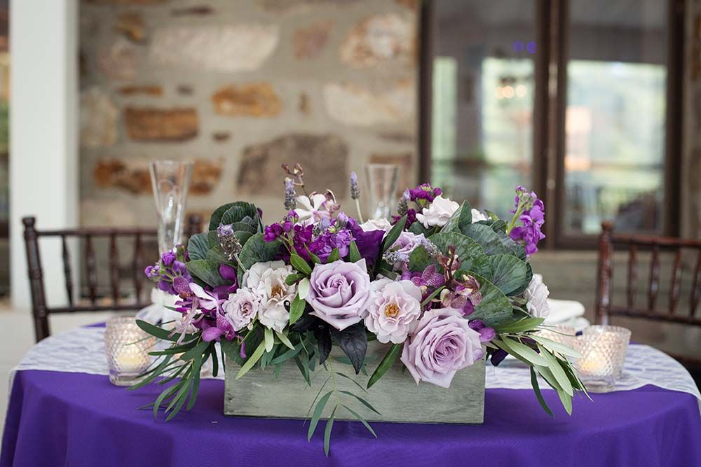 Alyssa Brian S September Wedding Purple Wedding Tables Wedding Flower Arrangements Purple Wedding Flowers