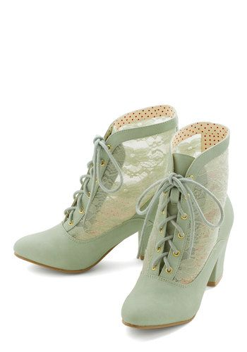 Lace Against Time Bootie in Mint by Bait Footwear - Mid, Faux Leather, Lace, Mint, Solid, Lace, Pastel, French / Victorian, Lace Up, Variati...