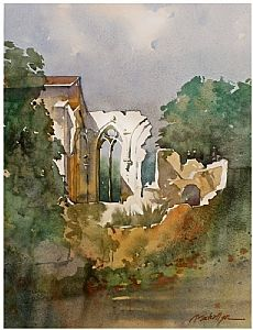 abbey ruins - france by Thomas W Schaller Watercolor ~ 22 inches x 15 inches