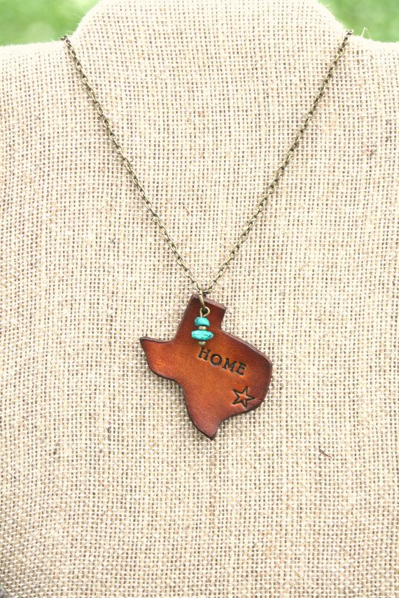"""Photo of Leather """"Home"""" Texas Necklace With American Turquoise, Southwestern, Western, Bohemian Handcrafted Womens and Girls Jewelry"""