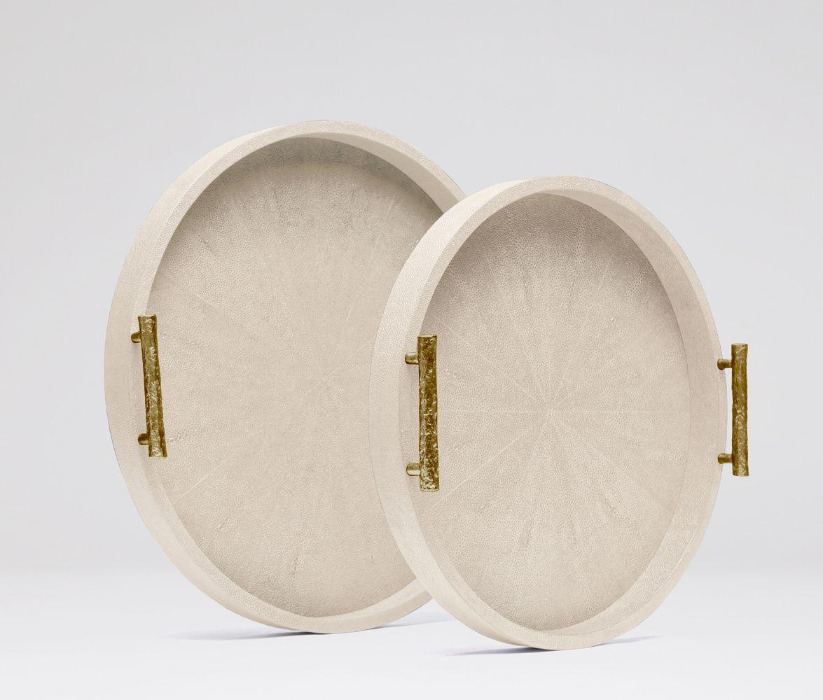 Doris White Circular Tray Gold Handles Wooden Tray Made Goods Designer Tray