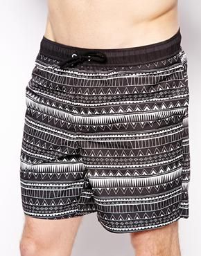 8cbfb8ad3d4fa ASOS Swim Shorts in Aztec Print In Mid Length | menswear