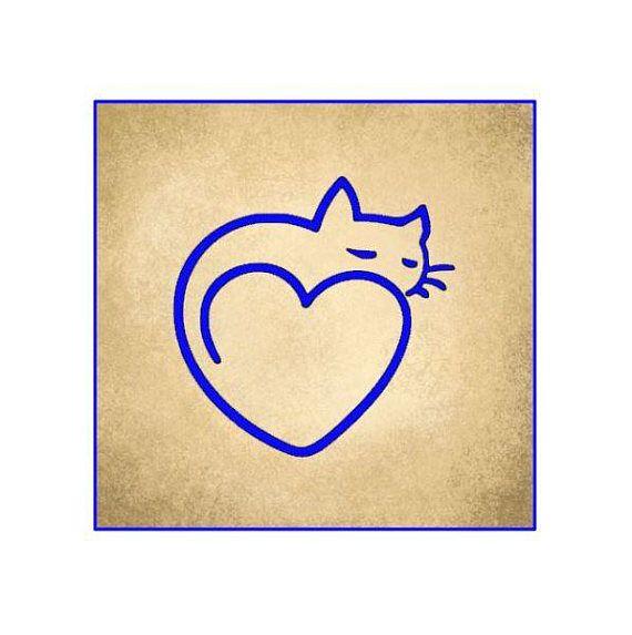Cat Decal Cat Sticker Cat Heart Decal Cat Heart Sticker