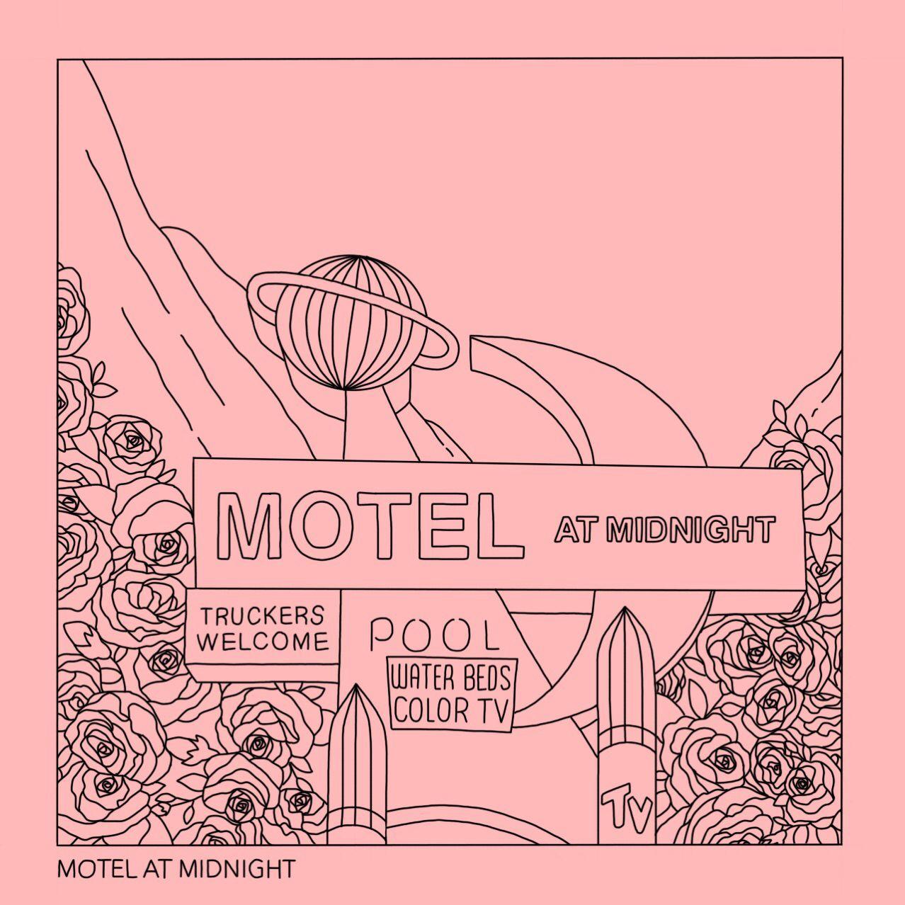 Motel At Midnight Aesthetic Art Prints Simple Line Drawing Etsy Simple Line Drawings Aesthetic Drawing Aesthetic Art