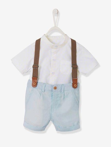Babykleding Print.Set Baby Jongen Hemd Met Print Bermuda Met Bretels Parel 1