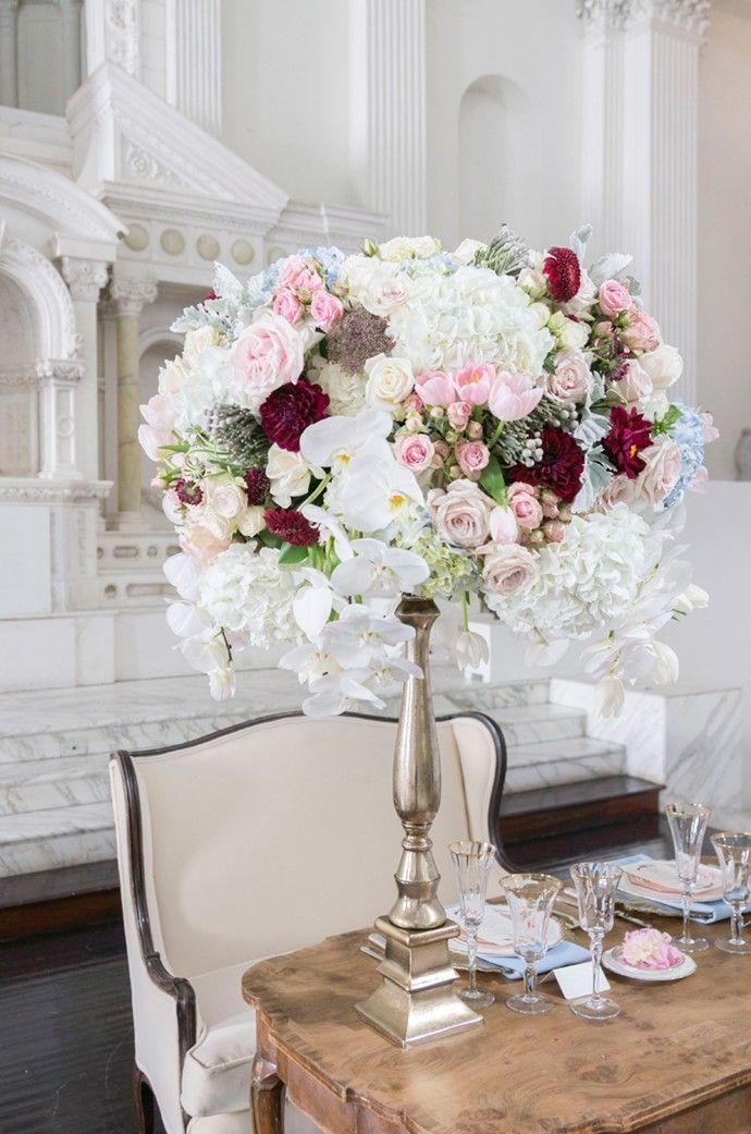 Art Deco Moon Wedding Inspiration In Rose Quartz Serenity Wedding Centerpieces Tall Wedding Centerpieces Creative Wedding Centerpieces