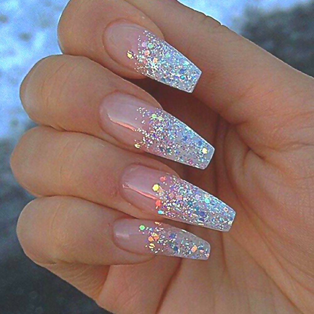 Sparkly Clear Acrylic Nails Double Tap If You Like This New Design Pretty Natural Nails White Bridal Nails Designs Clear Acrylic Nails Coffin Nails Designs