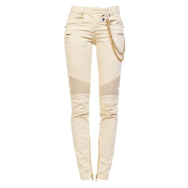 27f79ceca11 PIERRE BALMAIN White Jean Gold Chain found on Polyvore White Ripped Skinny  Jeans, White Distressed
