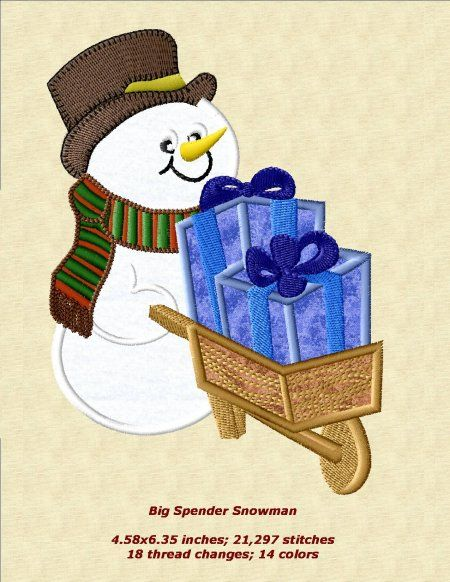 Free Snowman Applique Patterns   Applique Machine Embroidery Designs