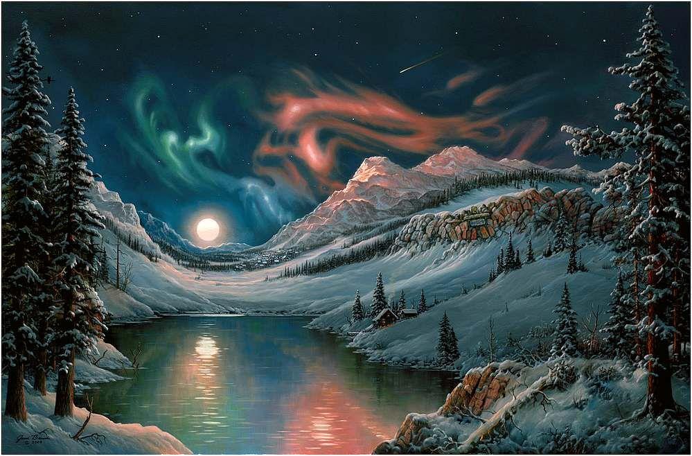 Jesse mobili ~ Jesse barnes artist ~ winter moonrise over lake ~ aurora borealis