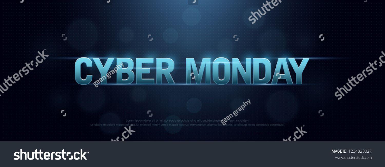 Cyber Monday Sale Logo Technology Design Concept Letters On Dark Blue Background Digital Shopping Discount Vector In 2020 Sale Logo Technology Design Concept Design
