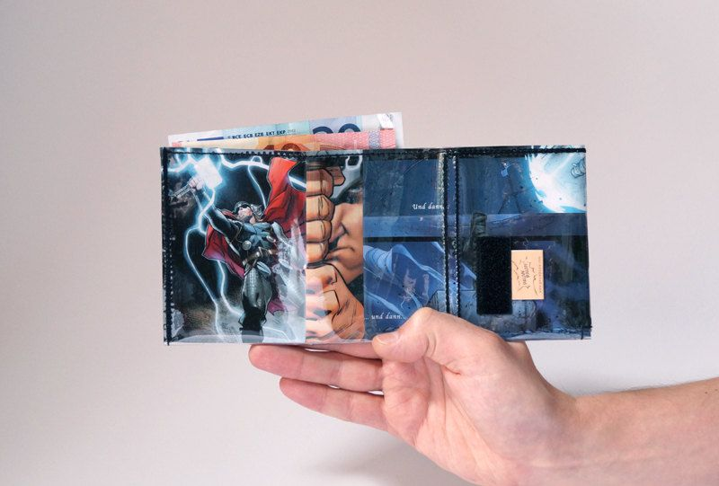 THOR wallet Comic upcycling unique piece from PauwPauw on Etsy