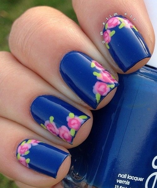Amazing Nail Art Blue Nails Prom And Flower
