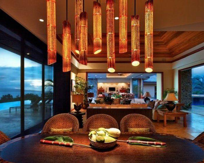 bambus deko bambusstangen pendelleuchten küche esszimmer - bilder für küche und esszimmer