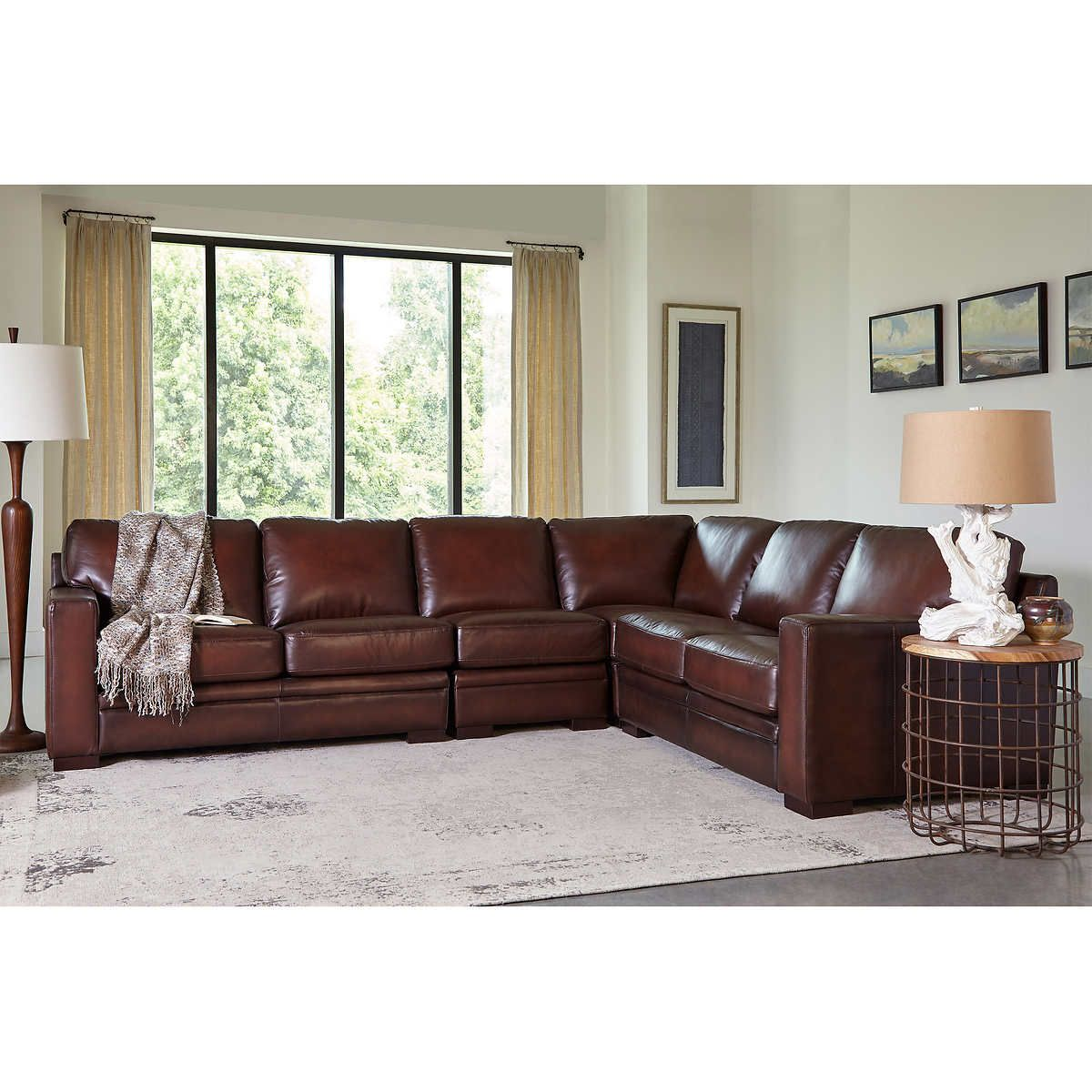 Luca 4 Piece Top Grain Leather Sectional In 2020
