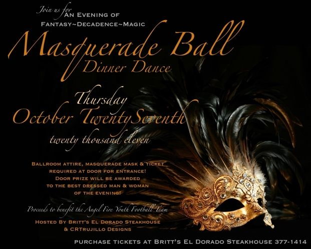 Masquerade Ball Masquerade Ball Dinner Dance Angel Fire, New - prom tickets design