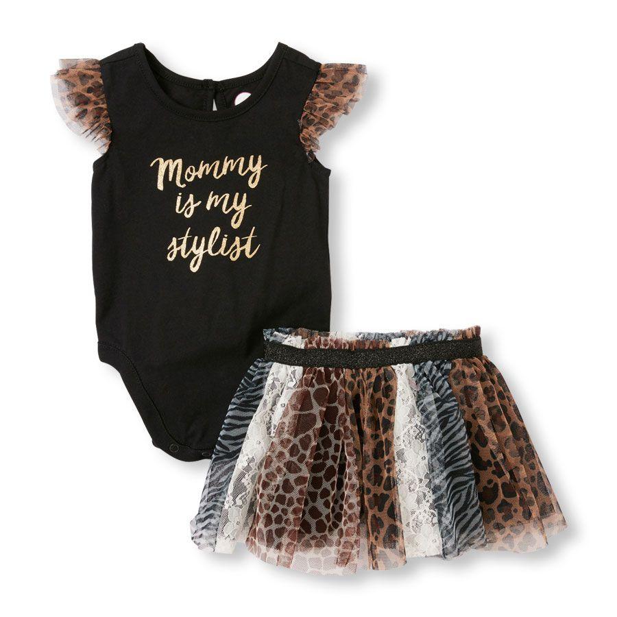 69a8d064e71d Baby Girls Short Flutter Sleeve Leopard Print Bodysuit and Animal Print  Skirt Set