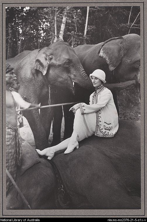 Anna Pavlova traveled world-wide. while in China she mastered 37 pirouettes on the back of a MOVING ELEPHANT -  seated on an elephant during her tour of India, 1923