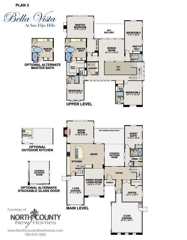 Floor Plans at Bella Vista in San Elijo Hills. New homes for ... on 3 bed 3 bath floor plans, 5 bed 3 bath floor plans, 6 bed 3 bath floor plans, 2 bed 1 bath floor plans, bathroom floor plans, 4 bedroom home floor plans,