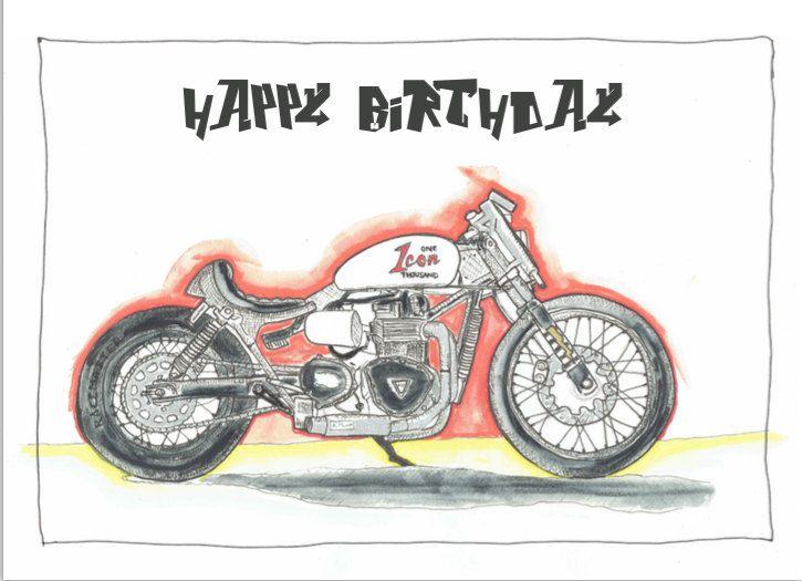 Icon 1000 Custom Triumph Bobber Motorcycle Birthday Card Print A6
