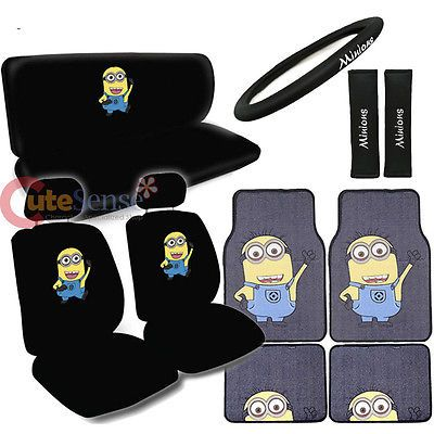 Despicable Me Minions Car Seat Covers Set Auto Accessories With Carpet Mat