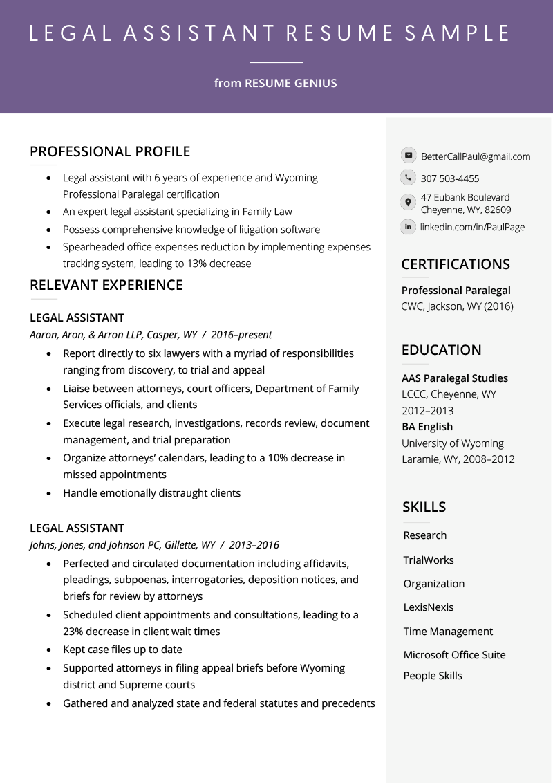 Legal Assistant Resume Example & Writing Tips Resume