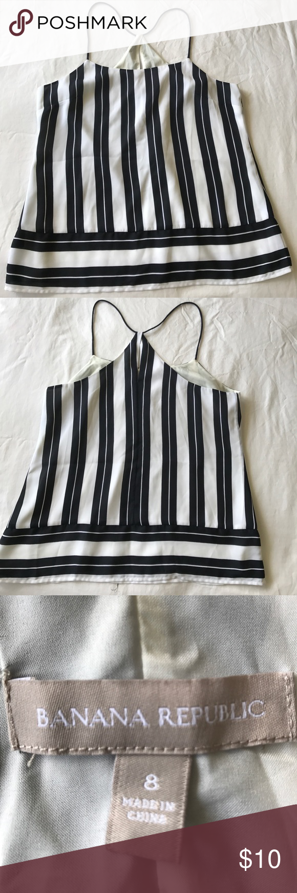 Striped banana republic lined blouse sz 8 Banana Republic blouse sz 8 stripes boxy cut Banana Republic Tops Blouses