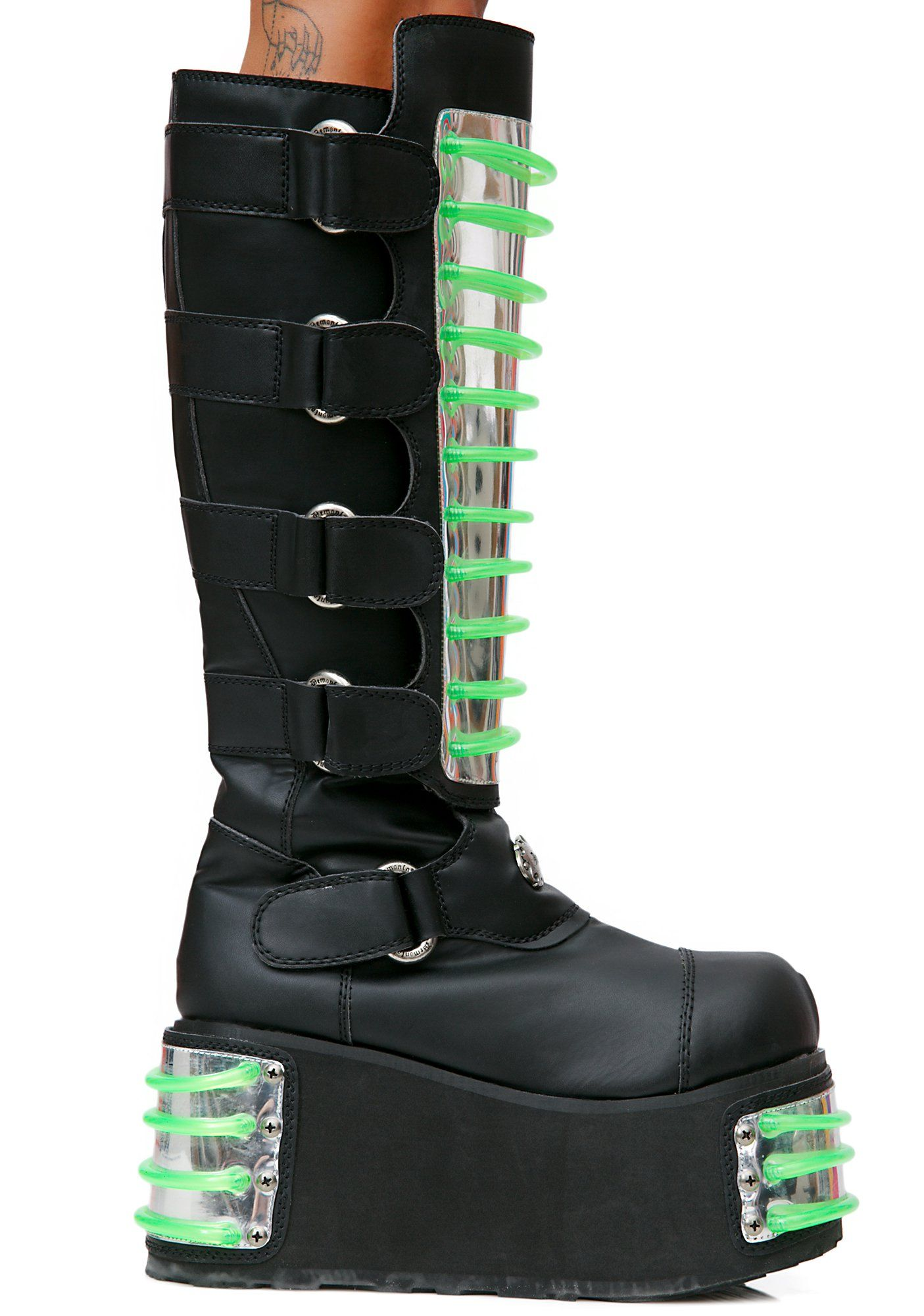 1484e79b1259 Burning Man Demonia Techno UV Platform Boots