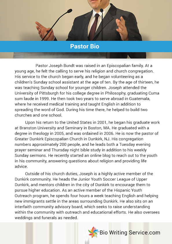 Pin By Bio Samples On Pastor Bio Example Writing A