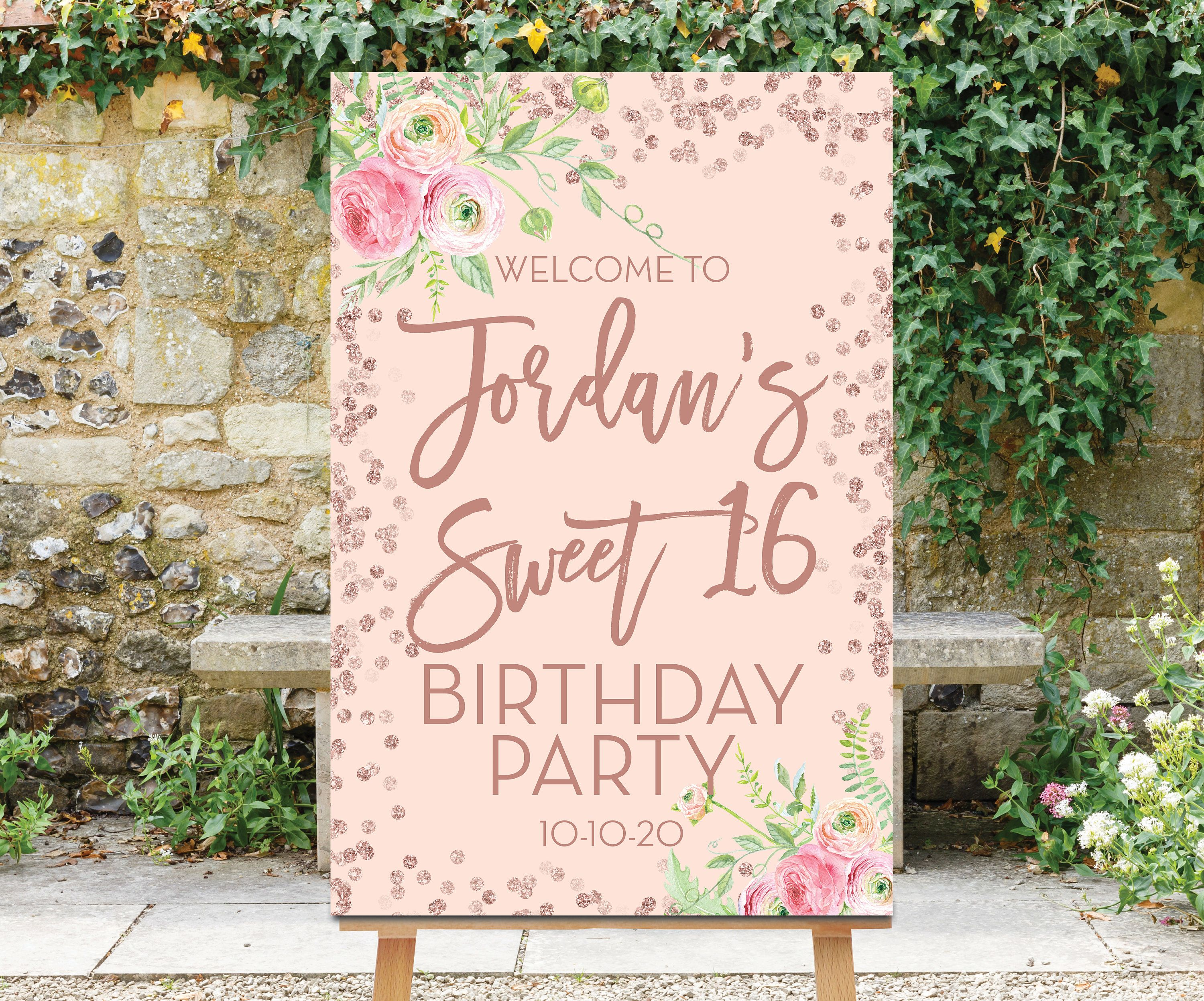 Sweet 16 Birthday Welcome Sign Printable Sweet Sixteen Etsy Bridal Shower Welcome Sign Sweet 16 Birthday Birthday Sign