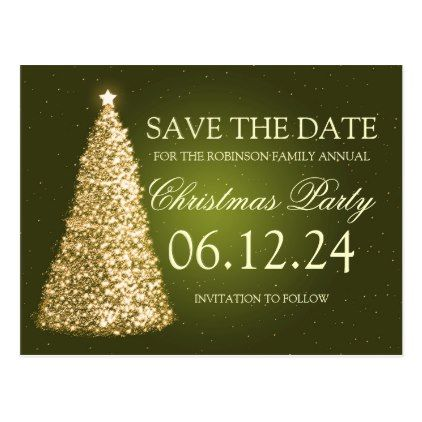 Elegant Christmas Party Save The Date Gold Green Announcement Postcard Zazzle Com Christmas Elegant Christmas Christmas Party Invitations Xmas Party