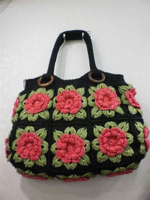 Handmade Crochet lady bag bright fashion handbag tote durable ...